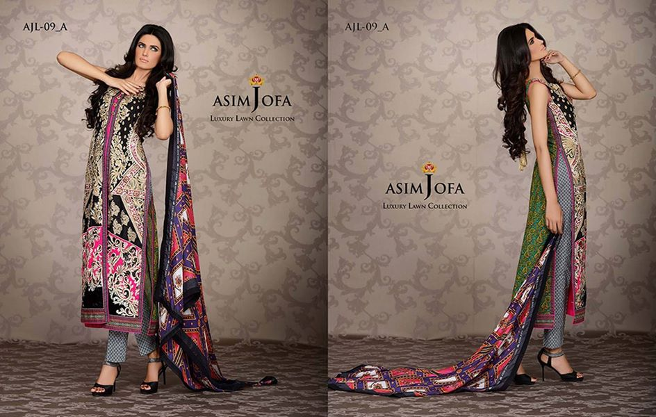 Asim Jofa Luxury Formal embroidered Lawn Collection for women 2014-2015 (3)