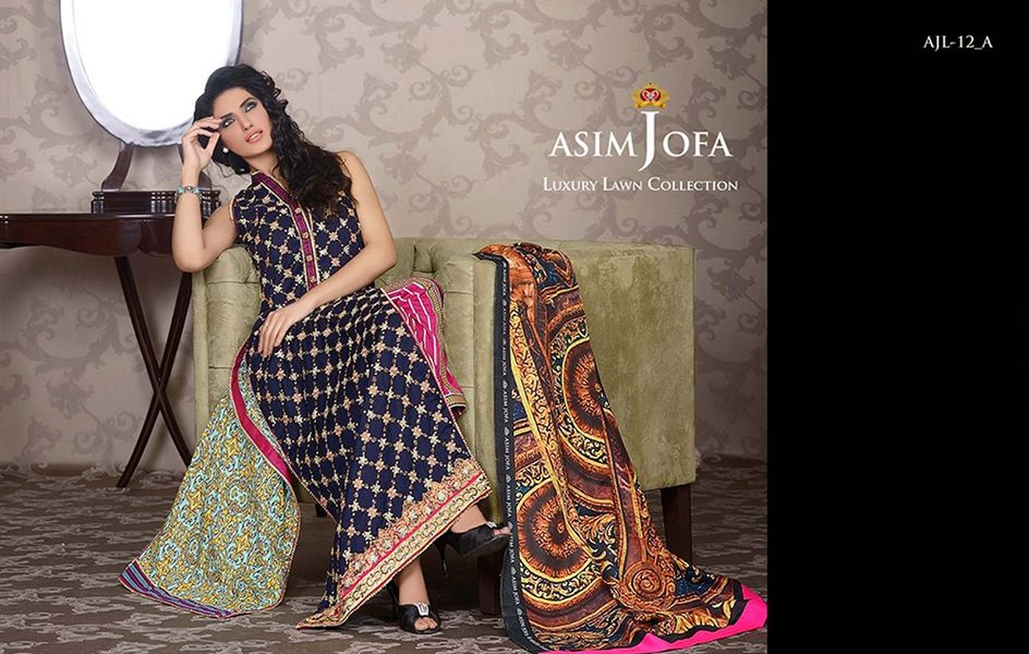 Asim Jofa Luxury Formal embroidered Lawn Collection for women 2014-2015 (5)