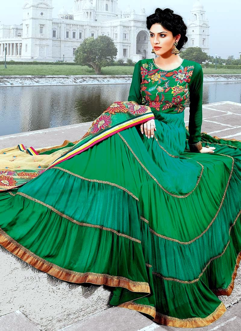 a6cc12ef48e Latest Stylish and Fancy Indian Anarkali Umbrella Frock designs and  Churridaar Suits 2014-2015 (11)