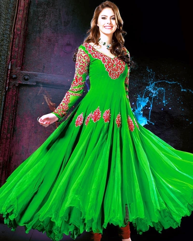 Latest Stylish and Fancy Indian Anarkali Umbrella Frock designs and Churridaar Suits 2014-2015 (4)