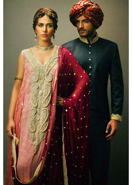 Deepak Perwani Latest Bridal-wedding wear dressescollection for men and women at Pantane Bridal Couture week 2014  (6)