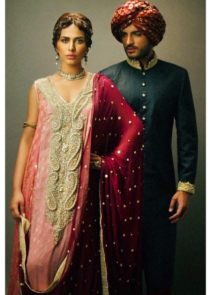 Deepak Perwani Latest Bridal-wedding wear dressescollection for men and women at Pantane Bridal Couture week 2014  (6)