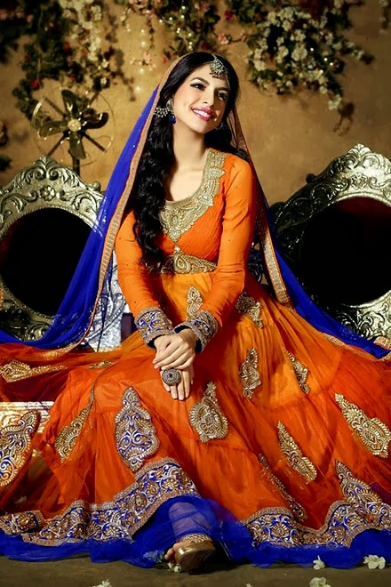 Latest Stylish Embroidered Designer Anarkali frocks fancy Pishwas Dress Designs for women 2014-2015 (11)