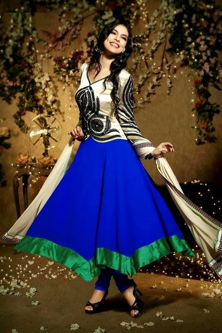 Latest Stylish Embroidered Designer Anarkali frocks fancy Pishwas Dress Designs for women 2014-2015 (13)