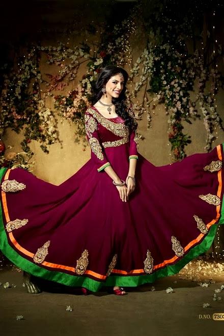 Latest Stylish Embroidered Designer Anarkali frocks fancy Pishwas Dress Designs for women 2014-2015 (5)