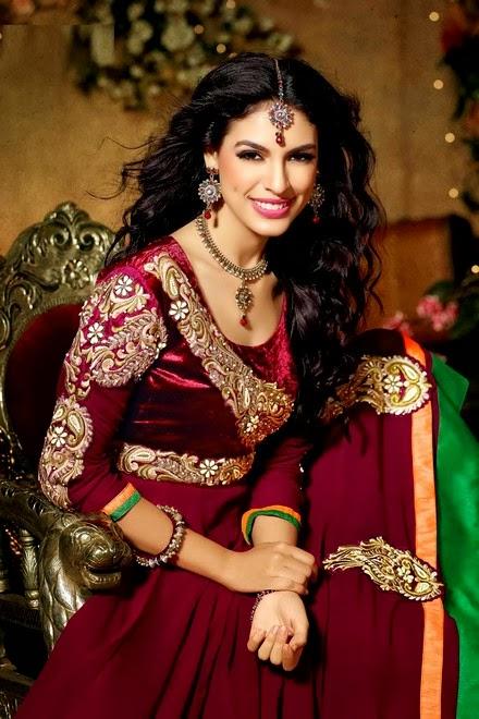 Latest Stylish Embroidered Designer Anarkali frocks fancy Pishwas Dress Designs for women 2014-2015 (6)