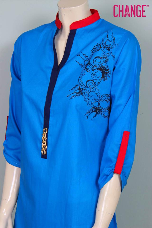 Stylish & Colorful Midsummer Season Kurti wear Dresses Designs for Women by Change 2014-2015 (13)