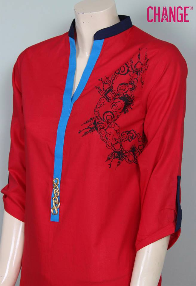 Stylish & Colorful Midsummer Season Kurti wear Dresses Designs for Women by Change 2014-2015 (7)