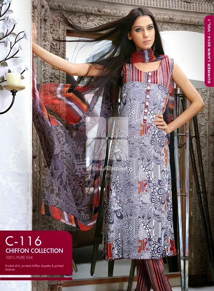 Gul Ahmed Latest Summer Eid Wear Formal Chiffon Dresses Collection for Women 2014 (10)