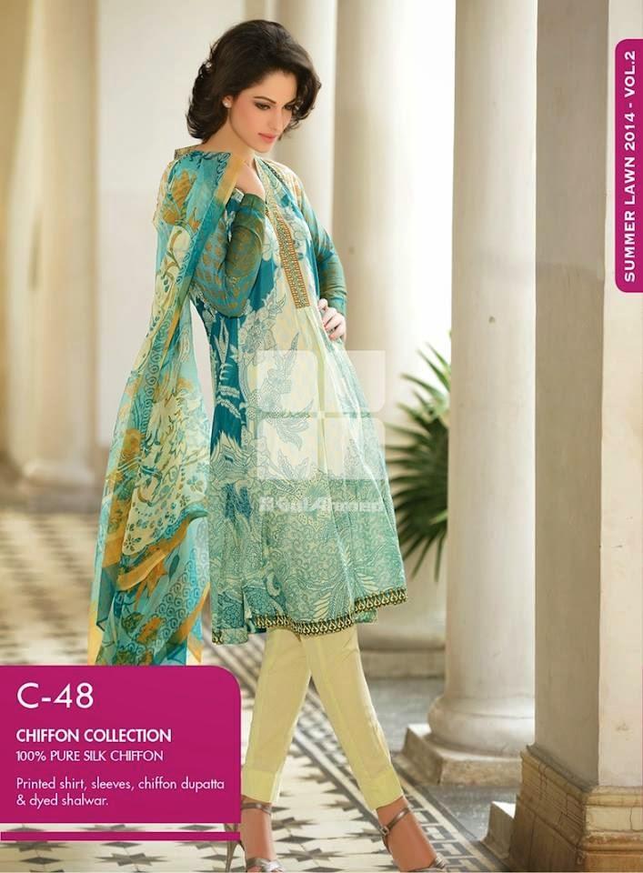Gul Ahmed Latest Summer Eid Wear Formal Chiffon Dresses Collection for Women 2014 (11)