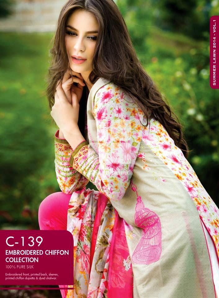 Gul Ahmed Latest Summer Eid Wear Formal Chiffon Dresses Collection for Women 2014 (4)