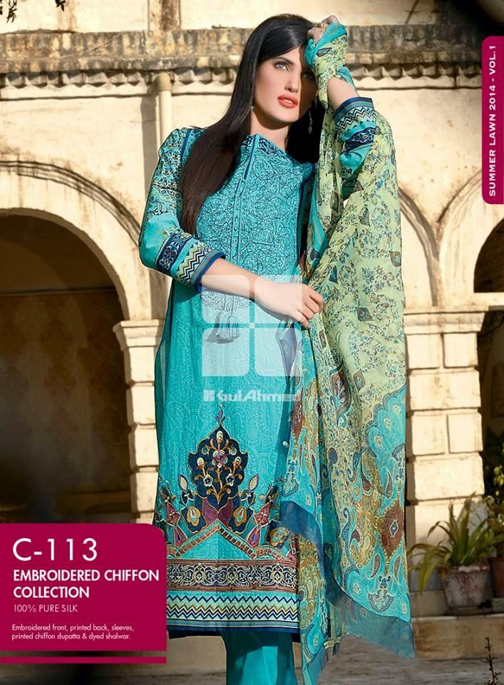 Gul Ahmed Latest Summer Eid Wear Formal Chiffon Dresses Collection for Women 2014 (6)