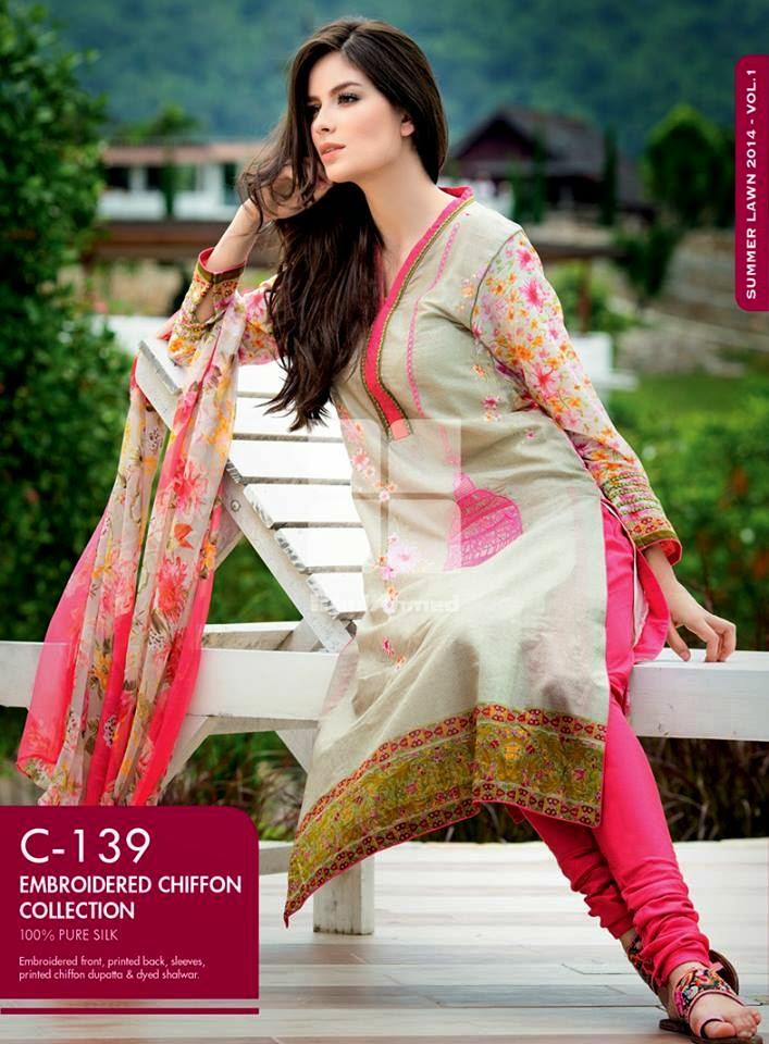 Gul Ahmed Latest Summer Eid Wear Formal Chiffon Dresses Collection for Women 2014 (7)