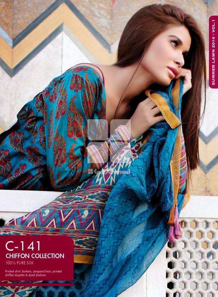 Gul Ahmed Latest Summer Eid Wear Formal Chiffon Dresses Collection for Women 2014 (8)