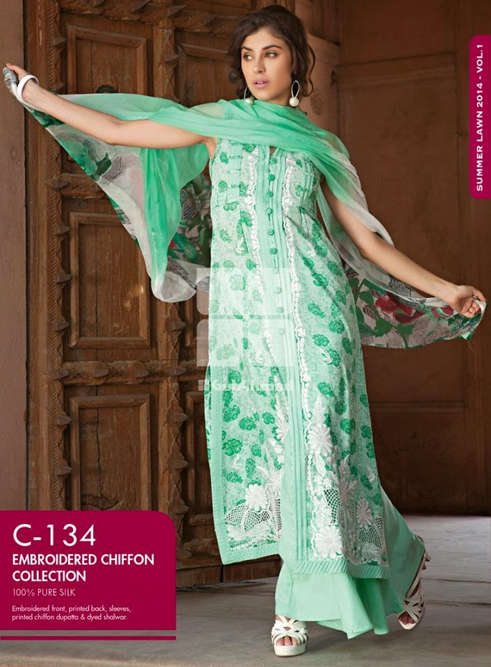 Gul Ahmed Latest Summer Eid Wear Formal Chiffon Dresses Collection for Women 2014 (9)