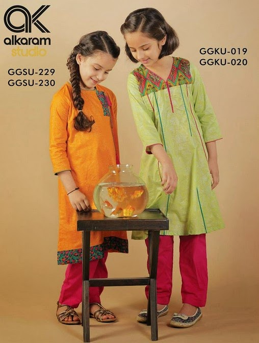 Latest Eid Festival Collection of Kids Wear Formal Dresses For Little Boys and Girls by Al Karam Studio 2014-2015 (1)