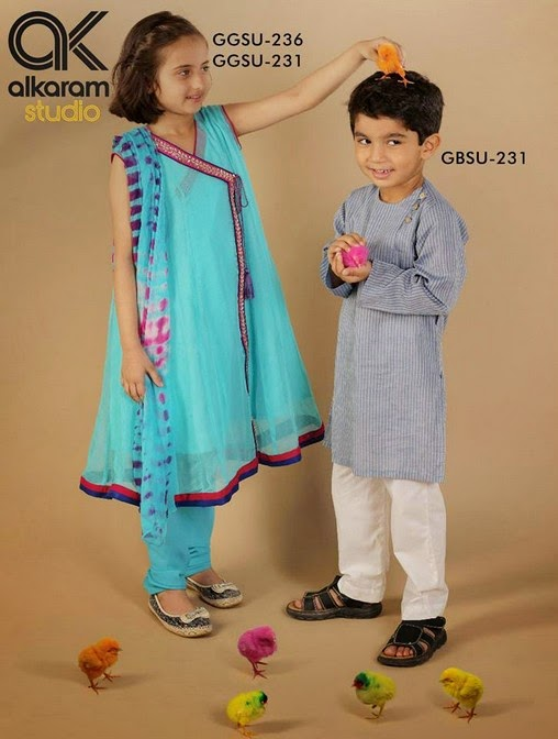 Latest Eid Festival Collection of Kids Wear Formal Dresses For Little Boys and Girls by Al Karam Studio 2014-2015 (10)