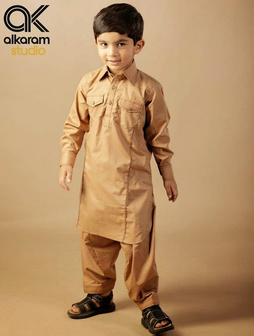 Latest Eid Festival Collection of Kids Wear Formal Dresses For Little Boys and Girls by Al Karam Studio 2014-2015 (11)