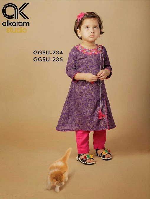 Latest Eid Festival Collection of Kids Wear Formal Dresses For Little Boys and Girls by Al Karam Studio 2014-2015 (12)