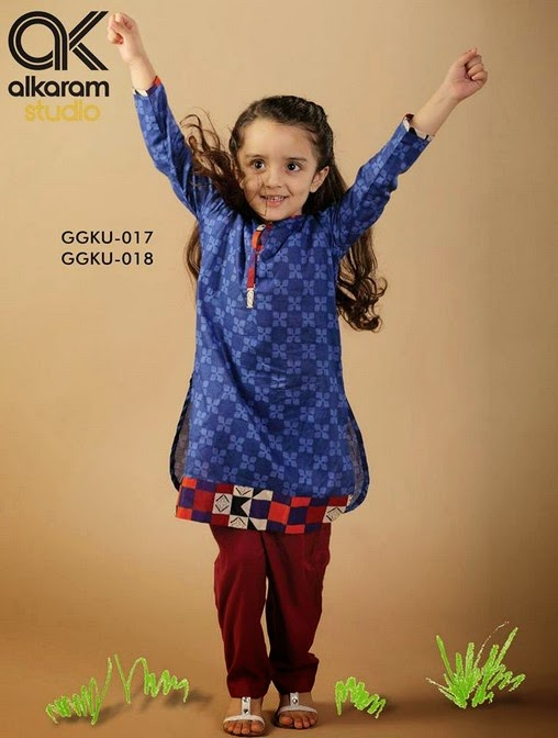 Latest Eid Festival Collection of Kids Wear Formal Dresses For Little Boys and Girls by Al Karam Studio 2014-2015 (16)