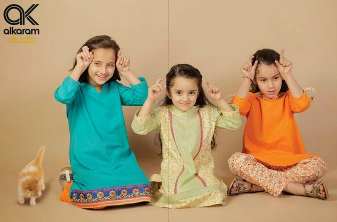 Latest Eid Festival Collection of Kids Wear Formal Dresses For Little Boys and Girls by Al Karam Studio 2014-2015 (2)