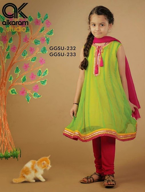 Latest Eid Festival Collection of Kids Wear Formal Dresses For Little Boys and Girls by Al Karam Studio 2014-2015 (5)
