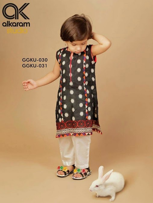 Latest Eid Festival Collection of Kids Wear Formal Dresses For Little Boys and Girls by Al Karam Studio 2014-2015 (6)