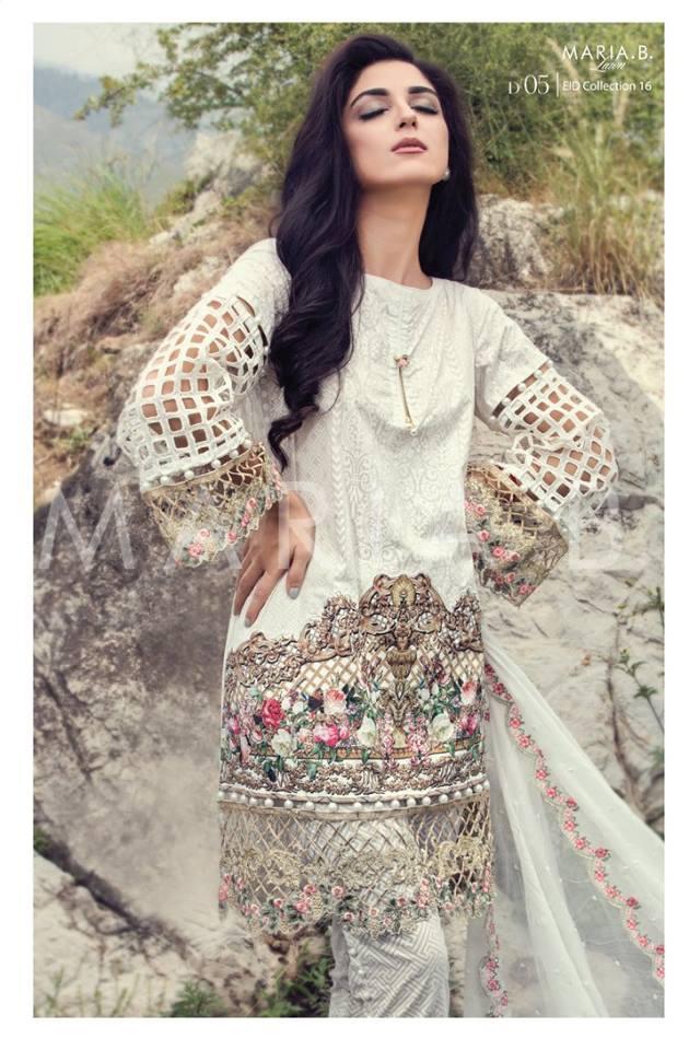 7137b8e46 Maria B Luxury Lawn   Fancy Chiffon Dresses Collection 2016-2017 (8 ...