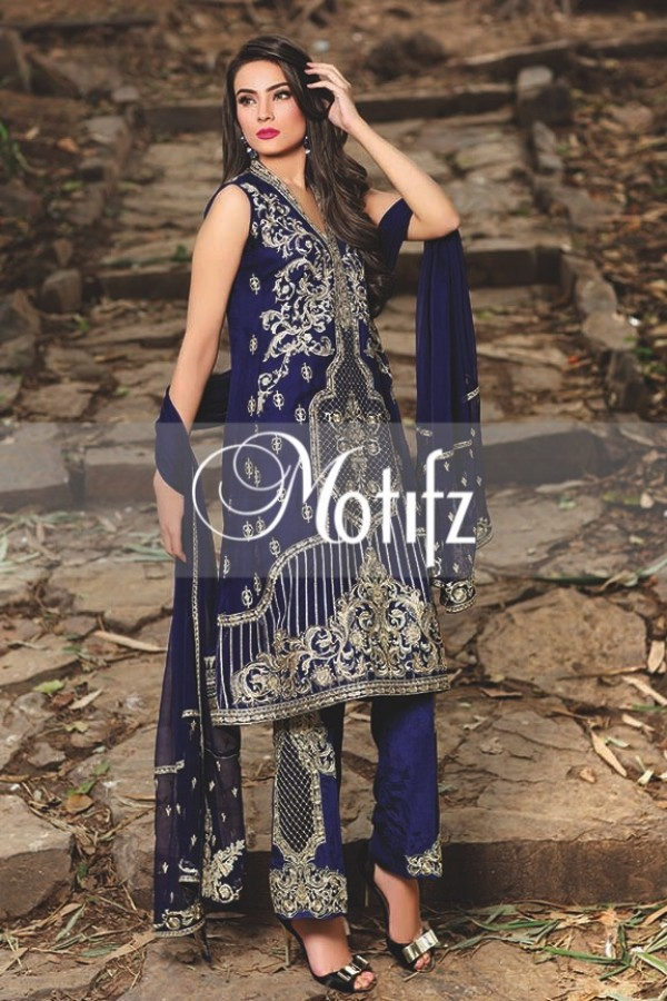 Motifz Embroidered Crinkle Chiffon Dresses Best Eid Collection 2016-2017 (1)