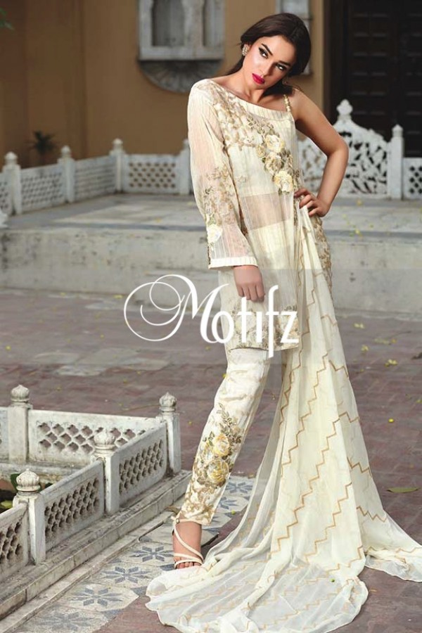 Motifz Embroidered Crinkle Chiffon Dresses Best Eid Collection 2016-2017 (11)