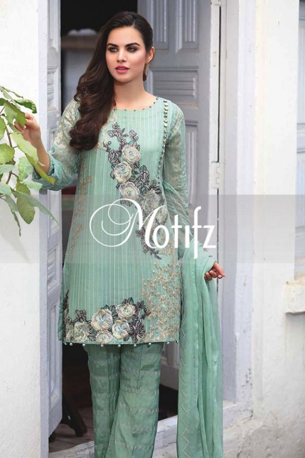 Motifz Embroidered Crinkle Chiffon Dresses Best Eid Collection 2016-2017 (12)