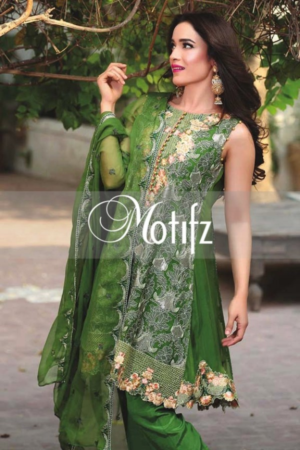 Motifz Embroidered Crinkle Chiffon Dresses Best Eid Collection 2016-2017 (13)