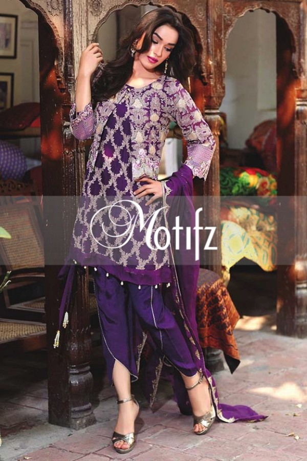 Motifz Embroidered Crinkle Chiffon Dresses Best Eid Collection 2016-2017 (14)
