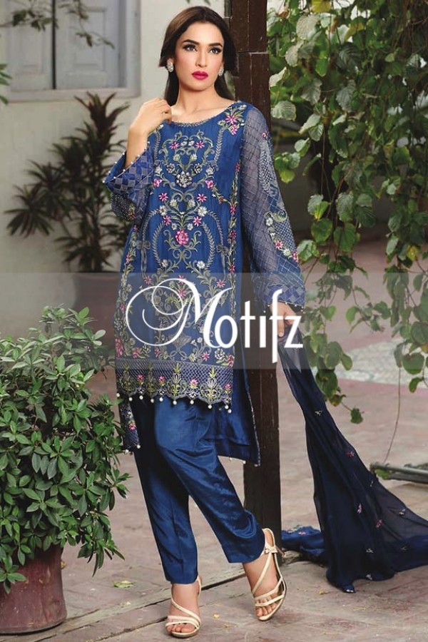Motifz Embroidered Crinkle Chiffon Dresses Best Eid Collection 2016-2017 (15)