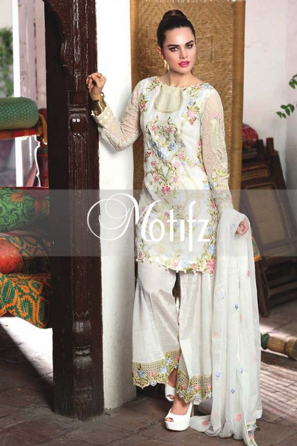 Motifz Embroidered Crinkle Chiffon Dresses Best Eid Collection 2016-2017 (16)