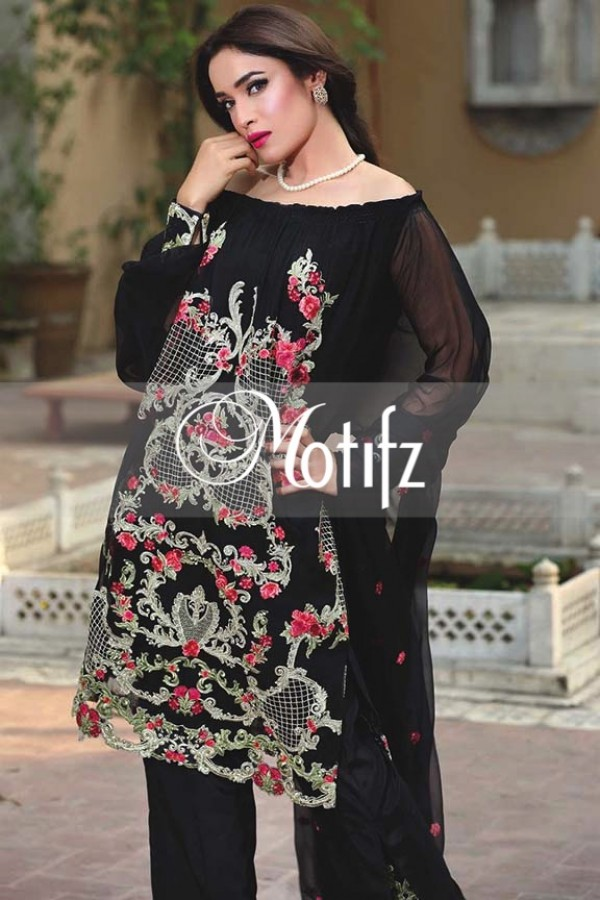 Motifz Embroidered Crinkle Chiffon Dresses Best Eid Collection 2016-2017 (19)