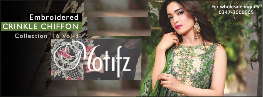 Motifz Embroidered Crinkle Chiffon Dresses Best Eid Collection 2016-2017 (2)