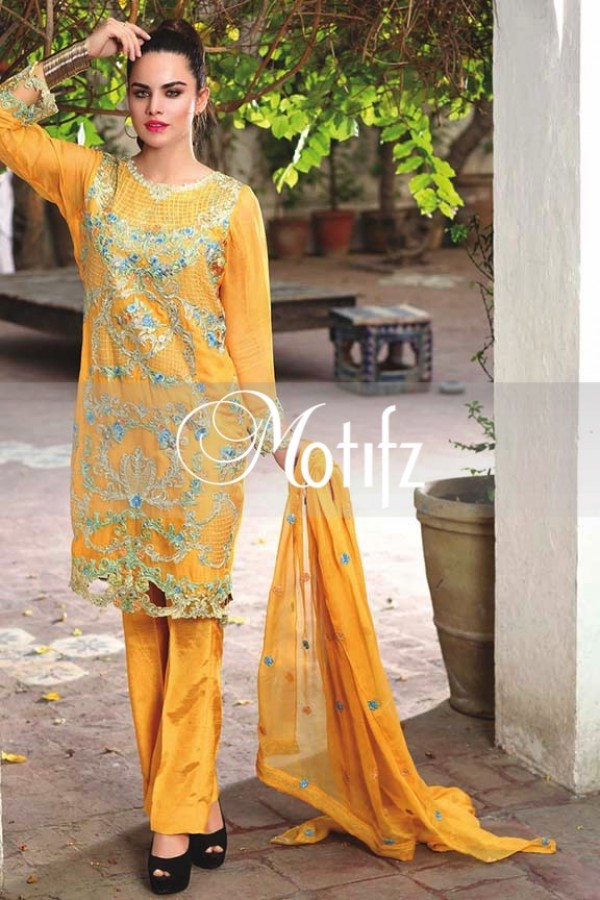 Motifz Embroidered Crinkle Chiffon Dresses Best Eid Collection 2016-2017 (20)