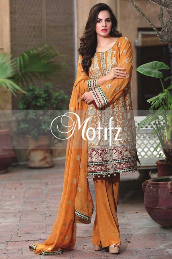 Motifz Embroidered Crinkle Chiffon Dresses Best Eid Collection 2016-2017 (21)