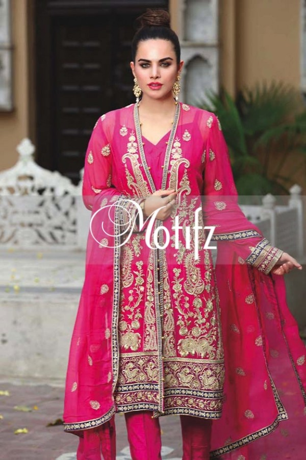 Motifz Embroidered Crinkle Chiffon Dresses Best Eid Collection 2016-2017 (22)