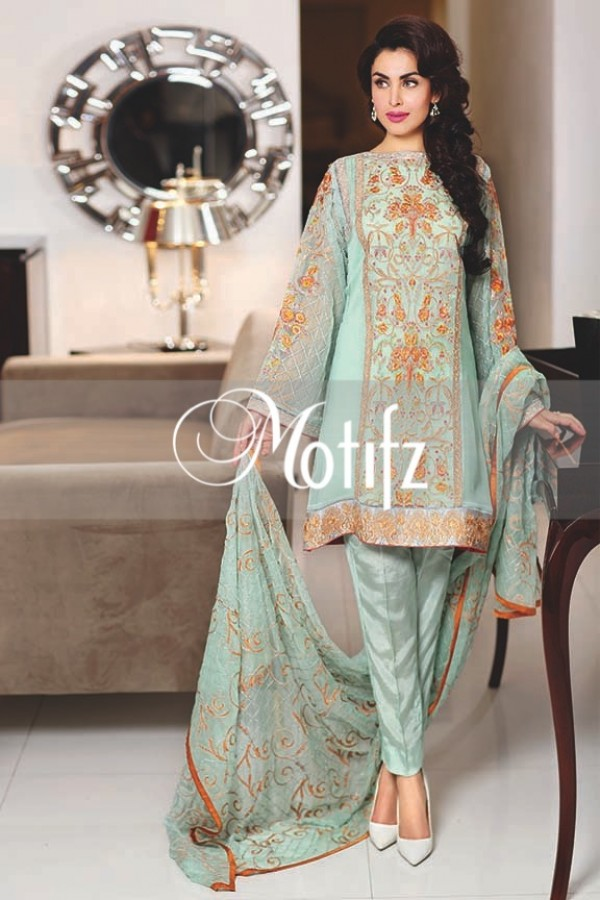 Motifz Embroidered Crinkle Chiffon Dresses Best Eid Collection 2016-2017 (27)