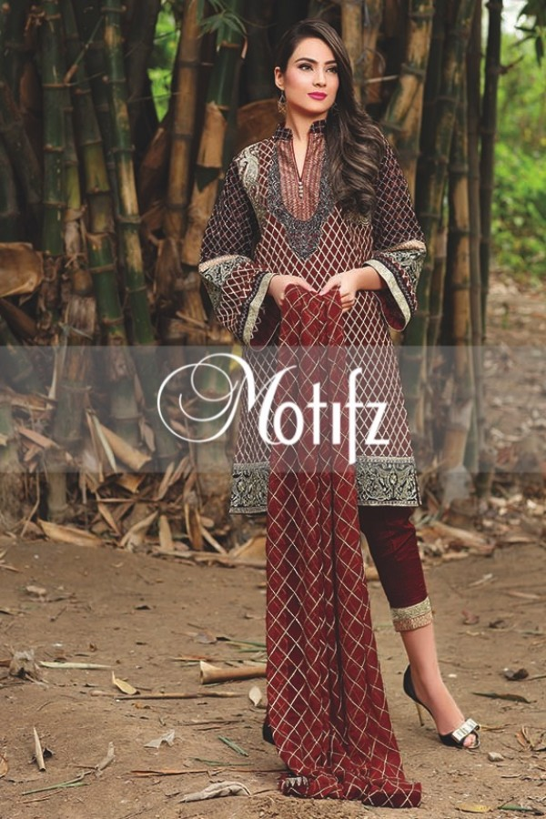 Motifz Embroidered Crinkle Chiffon Dresses Best Eid Collection 2016-2017 (30)