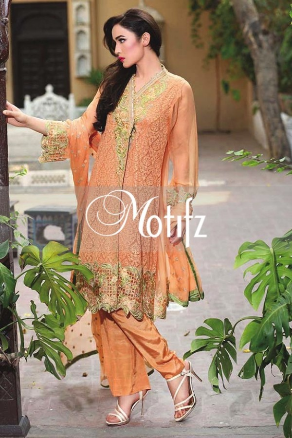 Motifz Embroidered Crinkle Chiffon Dresses Best Eid Collection 2016-2017 (4)