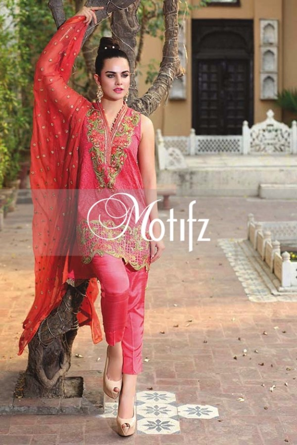 Motifz Embroidered Crinkle Chiffon Dresses Best Eid Collection 2016-2017 (5)