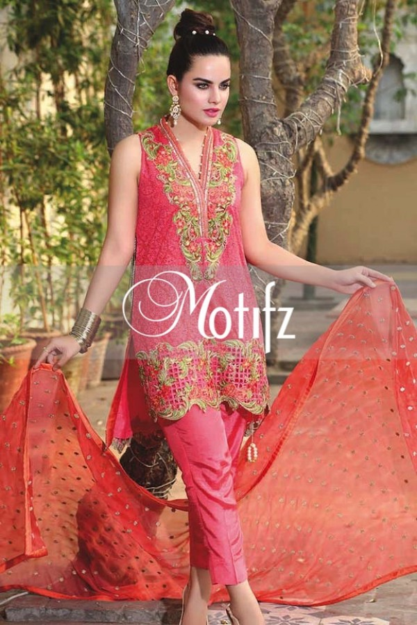 Motifz Embroidered Crinkle Chiffon Dresses Best Eid Collection 2016-2017 (6)