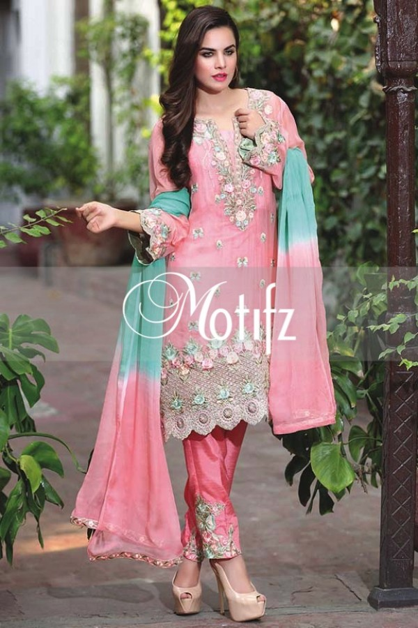 Motifz Embroidered Crinkle Chiffon Dresses Best Eid Collection 2016-2017 (7)