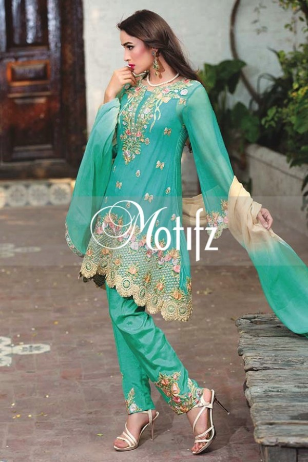 Motifz Embroidered Crinkle Chiffon Dresses Best Eid Collection 2016-2017 (8)