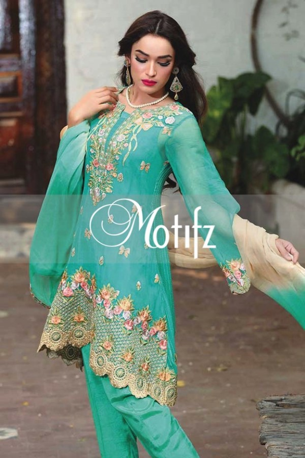 Motifz Embroidered Crinkle Chiffon Dresses Best Eid Collection 2016-2017 (9)