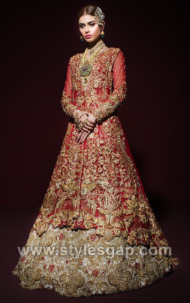a1640c48fc White meysuri jaal choli with sequins and crystal embroidery. White meysuri  jaal lehenga has gold handwork embroidery with red accents.