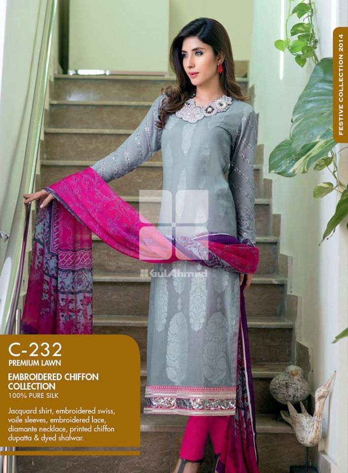 Women Latest Collection of Formal Wear Fancy * Embroidered Festive Dresses By Gul Ahmed (7)